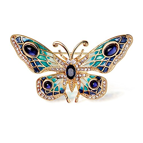 Small Butterfly Pin (24k Gold Plated Alloy Painted Crystal butterfly Brooch (Gold))