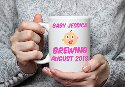 Custom Baby Name and Date White Custom 11 Ounce White Mug   Personalize and Customize with Any Name   Great Mug Gift for Baby Announcement