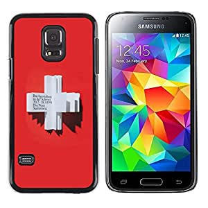 LECELL--Funda protectora / Cubierta / Piel For Samsung Galaxy S5 Mini, SM-G800, NOT S5 REGULAR! -- Red Cross Heart Blood German Book --
