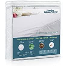 """King Size Premium Hypoallergenic Waterproof Mattress Protector Cover with Cotton Terry Surface- Breathable, Noiseless, No Vinyl and PVC (Up to 18"""" Deep Pocket)"""