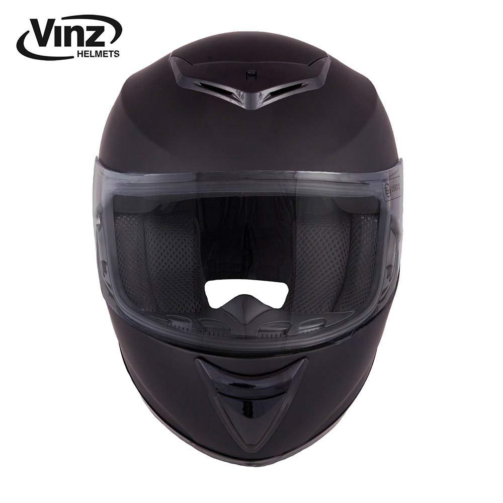 XS-XXL Motorradhelm in Gr XS Integral Helm mit Visier , Mattschwarz Vinz Integralhelm//Rollerhelm Basic 53-54 cm