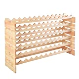 6 Tier Pinewood Wine Rack Natural Display Storage Shelves fit 72 Bottle