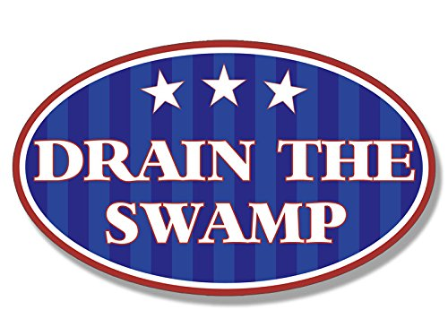 American Vinyl Patriotic Oval Drain The Swamp Sticker (Donald Trump GOP Bumper)