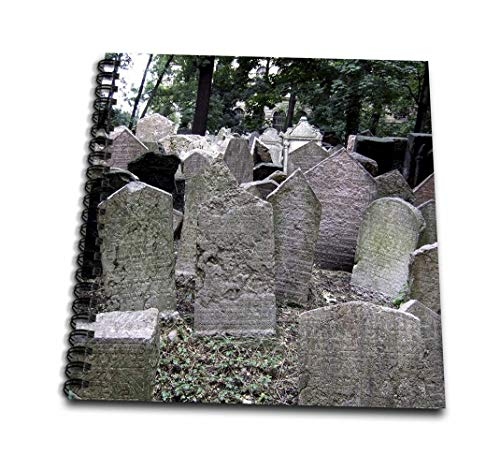 3dRose Gray Headstones in Cemetery in Prague - Grey Graveyard Grave Stones - Creepy Spooky Gothic Halloween - Mini Notepad, 4 by 4-Inch - Spiral Graveyard