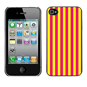 LASTONE PHONE CASE / Carcasa Funda Prima Delgada SLIM Casa Carcasa Funda Case Bandera Cover Armor Shell para Apple Iphone 4 / 4S / Cool Vertical Lines Bright Yellow Purple