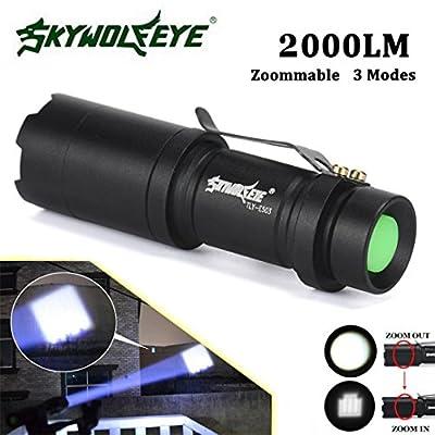 LandFox Flashlight,Super Bright Zoomable 2000LM CREE Q5 3-Modes LED Flashlight Torch