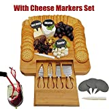 Bamboo Cheese Board & Cutlery Set with Slide-Out Drawer, 4 Piece Stainless Steel Knife, Plus 3 Cheese Markers, Serving Tray for Wine, Crackers. Wooden Plate Server, Christmas, Wedding & Housewarming