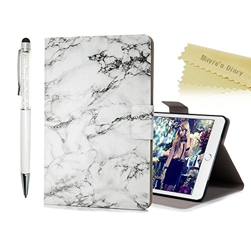 iPad Mini 1/2/3 Case ,iPad Mini 1 Flip Case ,iPad Mini 2/ Mini 3 Stand Function Case -Mavis's Diary Auto Wake & Sleep Function Slim Thin PU Leather Flip Case Magnetic Closure Card Slots Case -with Touchscreen Stylus for iPad Mini1 / iPad Mini2 / iPad Mini3 - White Marble