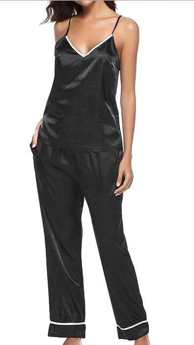 UUYUK-Women Satin Cami and Long Pants Sexy Lingerie Sleepwear Pajamas Set  Black US XS 40c836956
