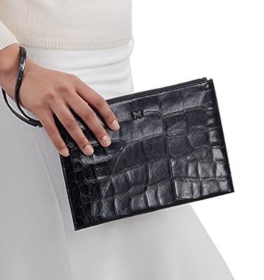 Eric Javits Luxury Designer Women's Fashion Handbag - Flat Zip Clutch - Black Croc
