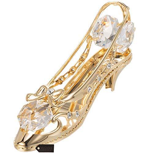 Matashi 24K Gold Plated Crystal Studded Lady Shoe Ornament (Baubles Christmas Crystal)