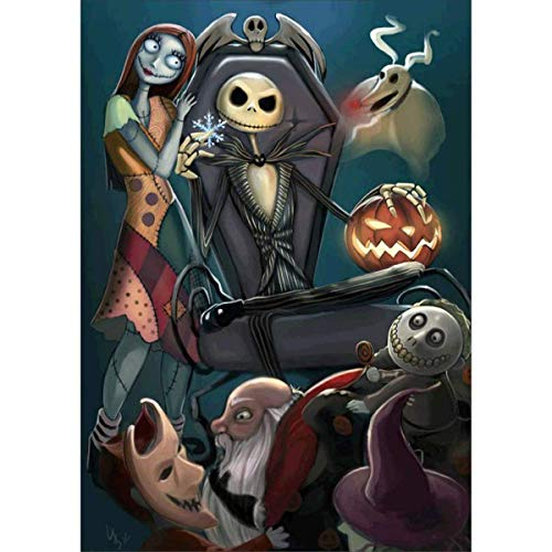 Paint by Numbers for Adults, DIY Painting Paint by Numbers Kits on Canvas,Jack Halloween King Skull Pumpkin 16x20 Inch,with Wooden Frame