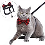 Mihachi Cat Harness Adjustable with Removable Bowtie-for Kitty & Rabbit, Harness and Leash Set, Black