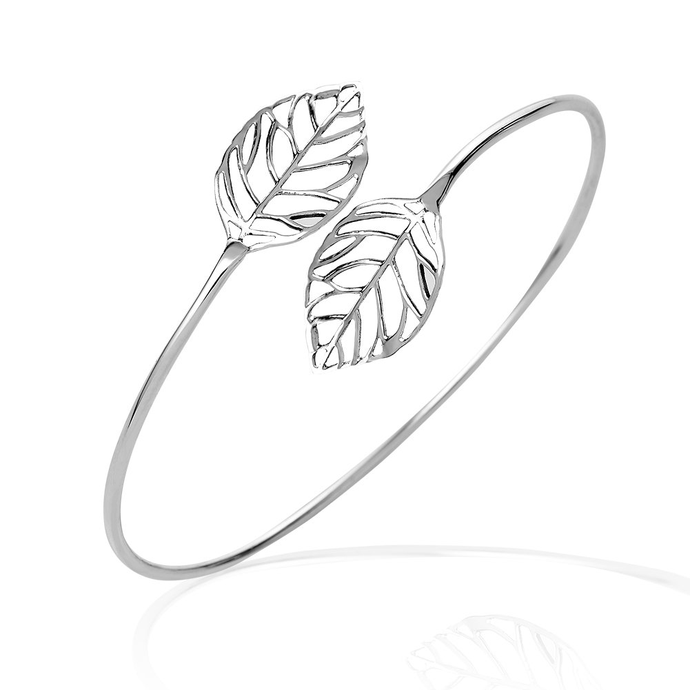 925 Sterling Silver Twin Open Leaf Flexible Thin Lines Bangle Wrap Nature Inspired Bracelet