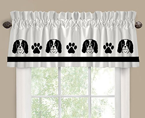 Cavalier King Charles Spaniel Dog Cutie Face Window Valance / Window Treatment - In Your Choice of Colors - Custom Made