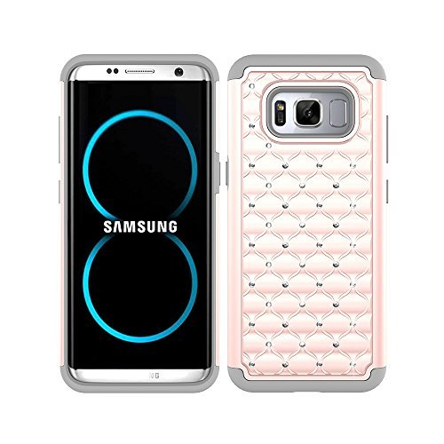 S8 Plus Case, S8+ Case, MagicSky [Shock Absorption] Studded Rhinestone Bling Hybrid Dual Layer Armor Defender Protective Case Cover For Samsung Galaxy S8 Plus / S8+ / S8 Edge (Rose Gold/Grey)