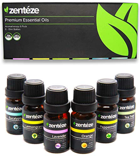 Essential Oils Set (6 Pack) by Zentéze | Essential Oils Lavender, Orange, Lemongrass, Peppermint, Eucalyptus & Tea Tree|Premium Grade Aromatherapy Essential Oils for Diffuser