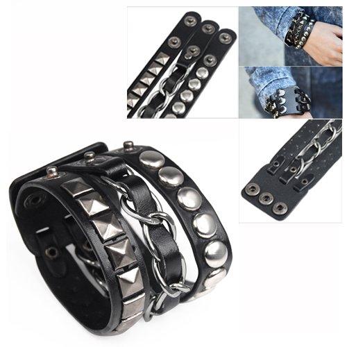 TOOGOO(R) Punk Rock Rivet Multi Layers Circles Pyramid Stud Chain Leather Bracelet 009344