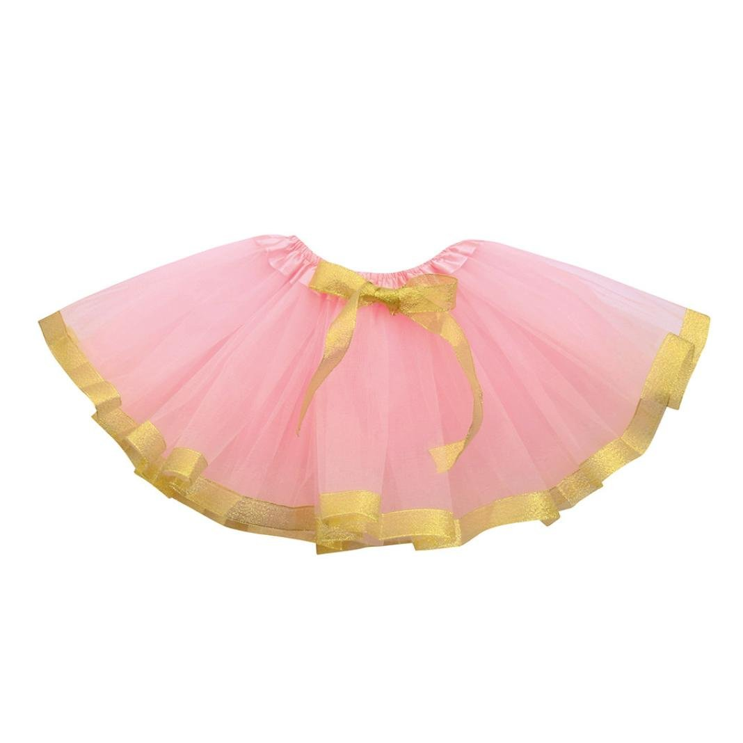 Lenfesh Baby Girls Fashion Three Layer Mesh Pleated Tutu Ballet Skirts, Cute Solid Bow Princess Party Dress for 1-8 Years Old