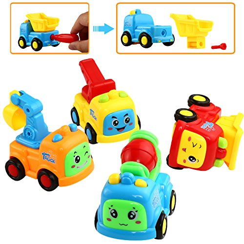 Car Toy, Push and Go Friction Powered Truck Toy,Can Take-Apart and Assemble,Yeonhatoys Pushing Vehicles For Toddlers Kids Baby , Dredger, Tow truck, Cement Mixer, Dump truck