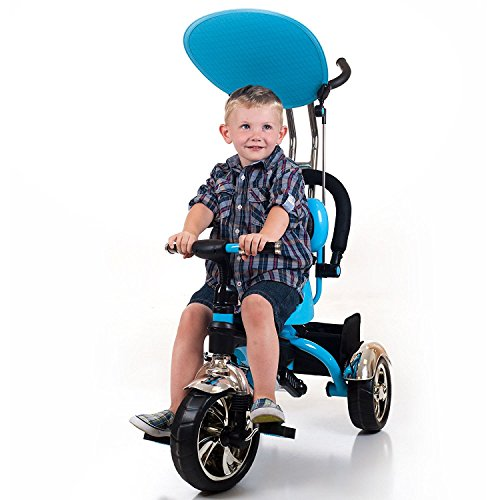 Best Selling Top Rated Two-In-One Toddler Kids Push Pull Stroller Tricycle Beautiful Blue Color- Perfect For Training Your Toddlers 3 Years and Up- Four Stages of Growth- Cushioned Seat Sun Visor