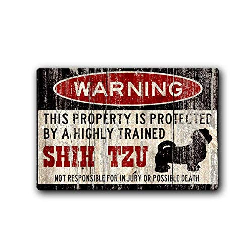 (Warning Shih Tzu Tin Wall Sign Funny Iron Painting Vintage Metal Plaque Decoration Warning Sign Hanging Artwork Poster for Bar Café Park)