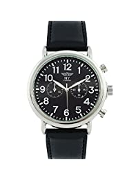 Rosemarie Collections Men's or Women's Black Vegan Leather Unisex Round Face Watch