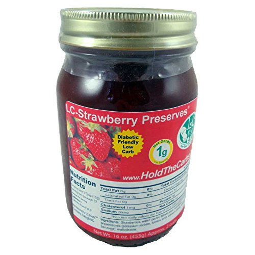 Low Carb Strawberry Preserves - LC Foods - All Natural - No Sugar Added - Paleo - Gluten Free - Diabetic Friendly - Low Carb Jam - 16 (Low Carb Sugar Free Jelly)