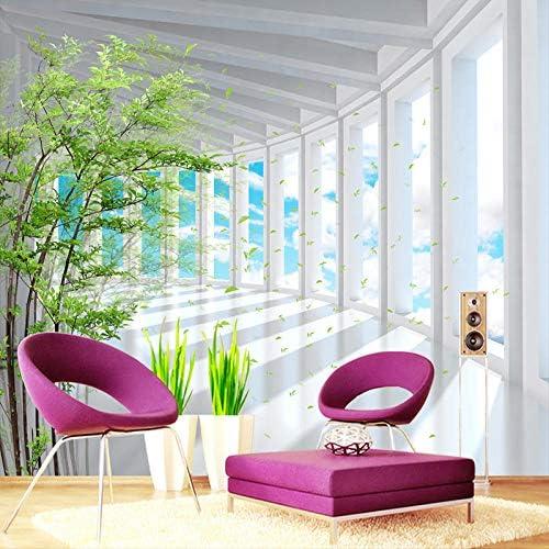 Ansyny 写真の壁紙3Dステレオブルースカイグリーンツリースペース拡張壁画壁紙リビングルームテレビソファ背景壁用壁紙-260X160CM