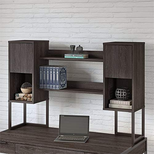 Office by Kathy Ireland Atria 60W Hutch for Writing Desk in Charcoal Gray