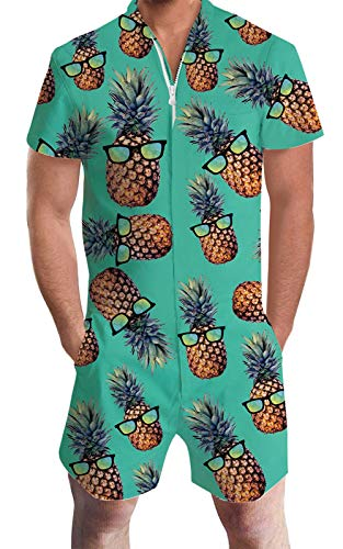 Adult Man One Piece Jumpsuits Green Pineapple Fruit Print 3D Novelty Zipper Short Jersey Hawaiian Shirt Rompers Cozy Beach Playsuit Party Wear Overalls with Big Pockets for Teen Boys Stylish Outfits