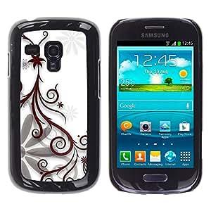 Paccase / SLIM PC / Aliminium Casa Carcasa Funda Case Cover - Design Floral White - Samsung Galaxy S3 MINI NOT REGULAR! I8190 I8190N