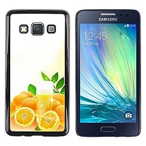 TopCaseStore / la caja del caucho duro de la cubierta de protección de la piel - Cool Orange Juice - Samsung Galaxy A3 SM-A300