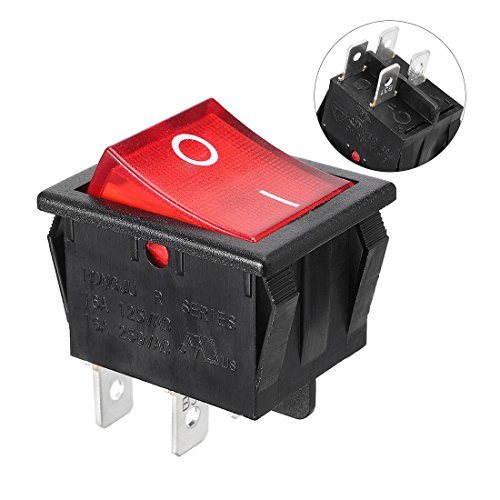 uxcell Red Light Illuminated DPST ON/OFF Snap In Rocker Switch 16A 250V AC - Snap Switch