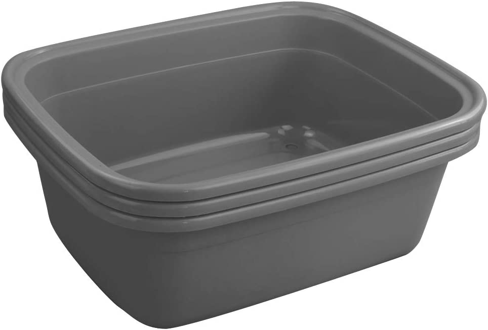 DynkoNA 3 Grey 16 Quart Plastic Rectangular Wash Tub, Washing Bins