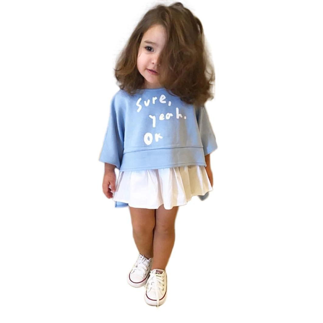 Tpulling Enfants Filles vêtements Lettre Impression-Shirt + Jupe Robe [ Filles Manches Longues Robes ] Occasion: occasionnel quotidien