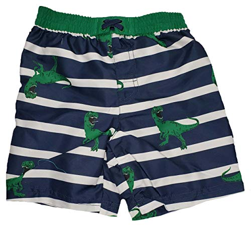 Toddler Boys T-Rex Dinosaurs on Blue Cove Stripes Swim Short Trunk - 2T ()