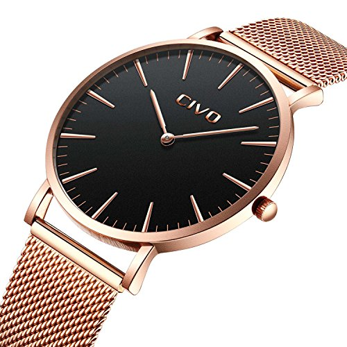 CIVO Mens Womens Unisex Ultra Thin Watches Minimalist Luxury Fashion Business Dress Casual Waterproof Quartz Wrist Watch for Man Woman with Rose Gold Stainless Steel Mesh Band