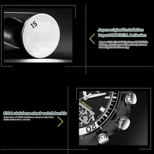 5296 LED Night Light Display & Stopwatch & Alarm & Date And Week Function Men Quartz + Digital Dual Movement Watch With Silicone Band (SKU : Wa0109gb) by Dig dog bone (Image #8)