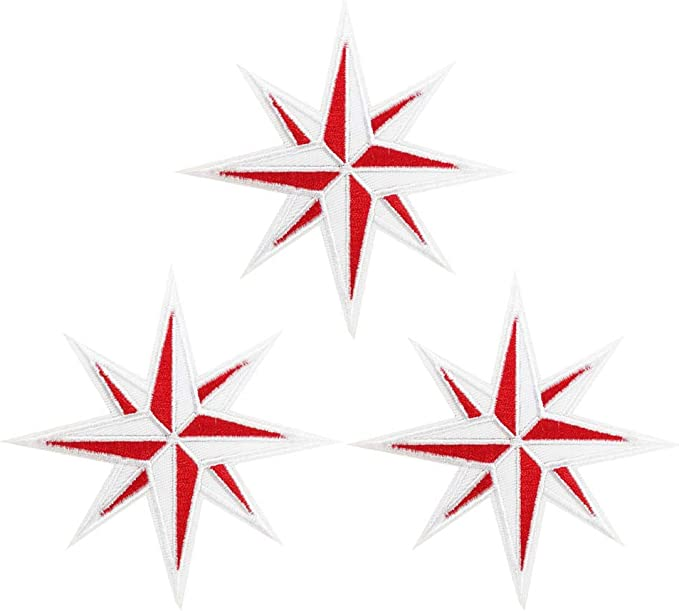 Blue and White Compass Patch Eight 8-Point Star Embroidered Iron On Applique