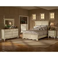 Wilshire Panel Bed w High Profile Headboard in Antique White (Queen)