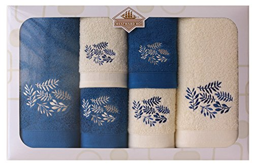 Westward Ho! Autumn Embroidery Box Towel, Cream/Royal by Westward Ho!