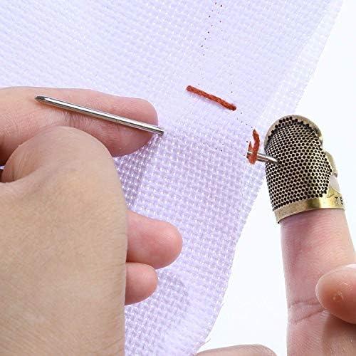 ACAMPTAR 3 Piezas Protector de Dedos de Cobre Dedal Dedo Ajustable Dedal para Coser Bordado Costura,Medio