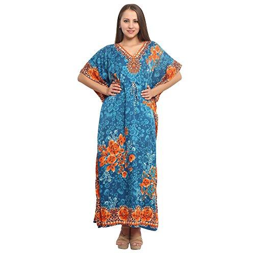(Women Dress Tunic Ladies Indian Summer Beach Top Kaftan Hippie Boho Party Dress - Turqoiuse)
