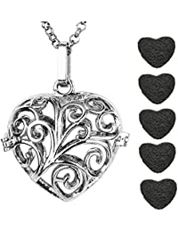 Antique Silver Vines Heart Openable Locket Essential Oil Perfume Aromatherapy Diffuser Pendant Necklace with 5...