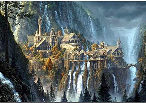 5d eigen foto Custom Diamond Painting Movies Fantasy Castle Landscape Christmas Embroidery DIY Cross Stitch Xmas Decor,40x50cm ()