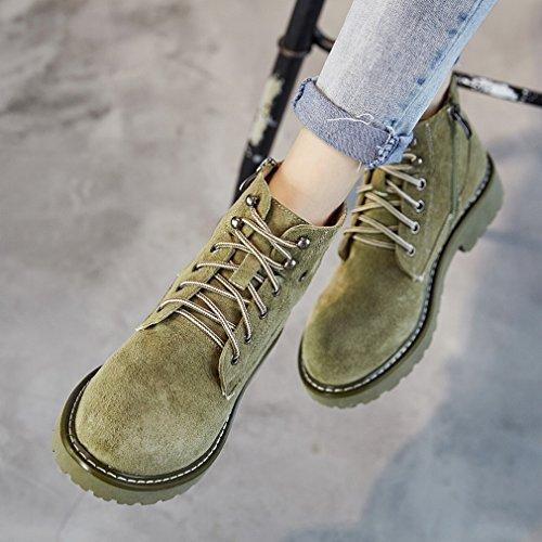 Western ZH Gommage Chaussures Haute Moto Nues de Bottes Martin Britanniques Vert à Vent Bottes RHxZzqR