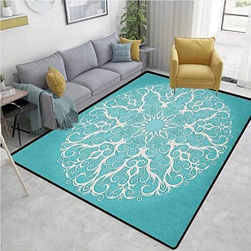 Living Room Area Rug Turquoise Round Curving Tree Branches Pattern Infinite Circle Symmetrical Cuves Floral Design Machine-Washable/Non-Slip White