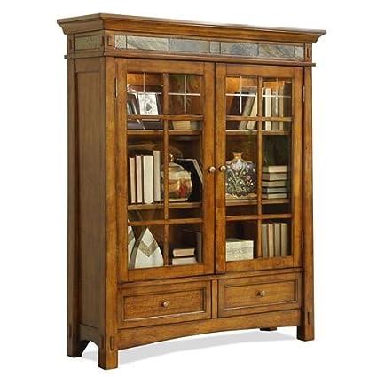 craftsman furniture custom riverside furniture craftsman home door bookcase in americana oak amazoncom