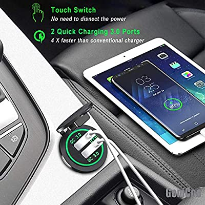 Quick Charge 3.0 Dual USB Car Charger Socket with Touch Switch 12V/24V 36W QC3.0 Dual USB Fast Charger Socket Power Outlet for Marine, Boat, Motorcycle, Truck, Golf Cart(Green): Home Audio & Theater